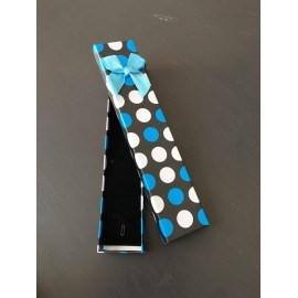 Ecrin montre Pois Blanc/Bleu