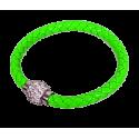 Bracelet tresse cuir Vert Fluo