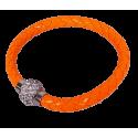 Bracelet tresse cuir Orange