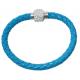 Bracelet tresse cuir Bleu