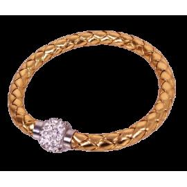 Bracelet tresse cuir Doré