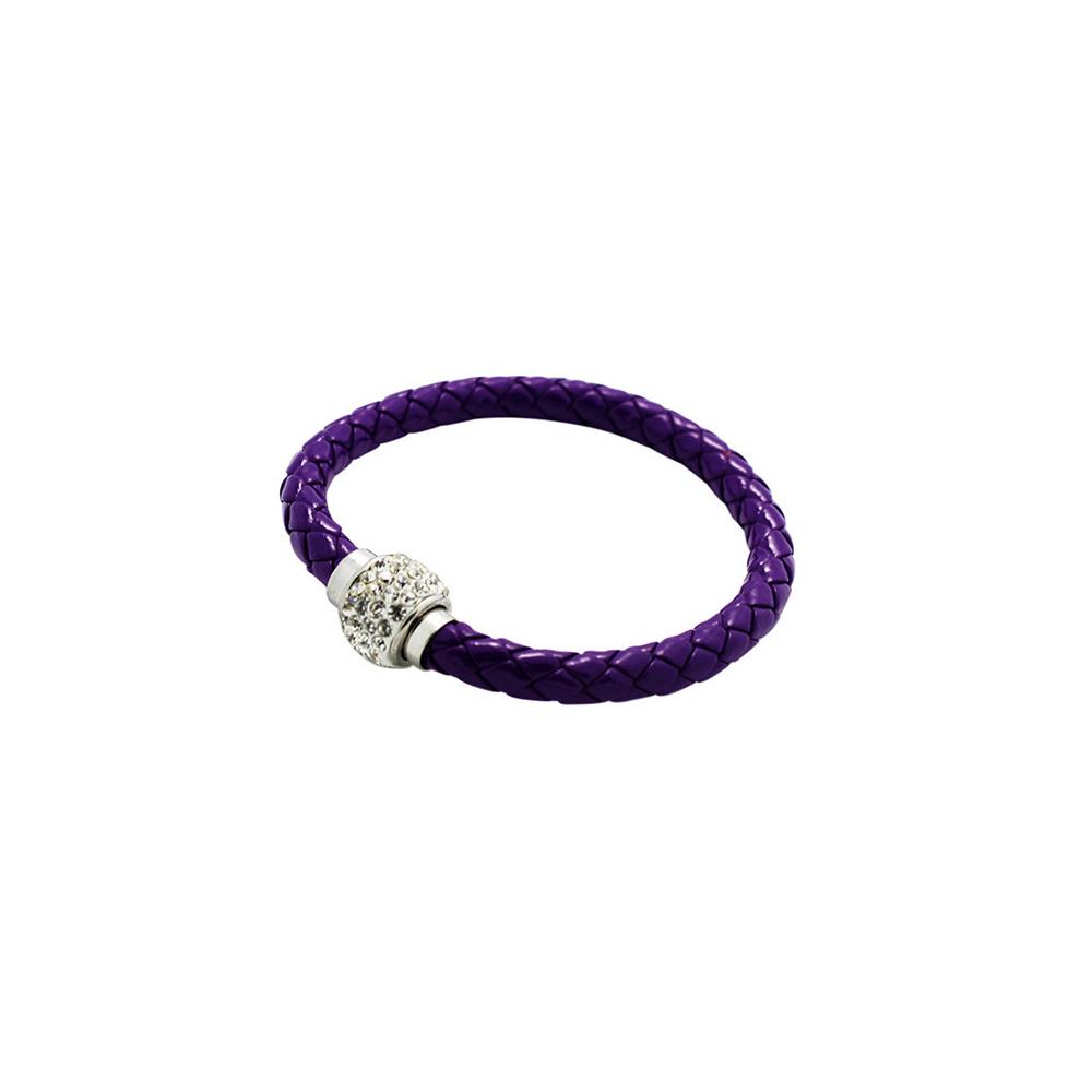bracelet tresse cuir Violet