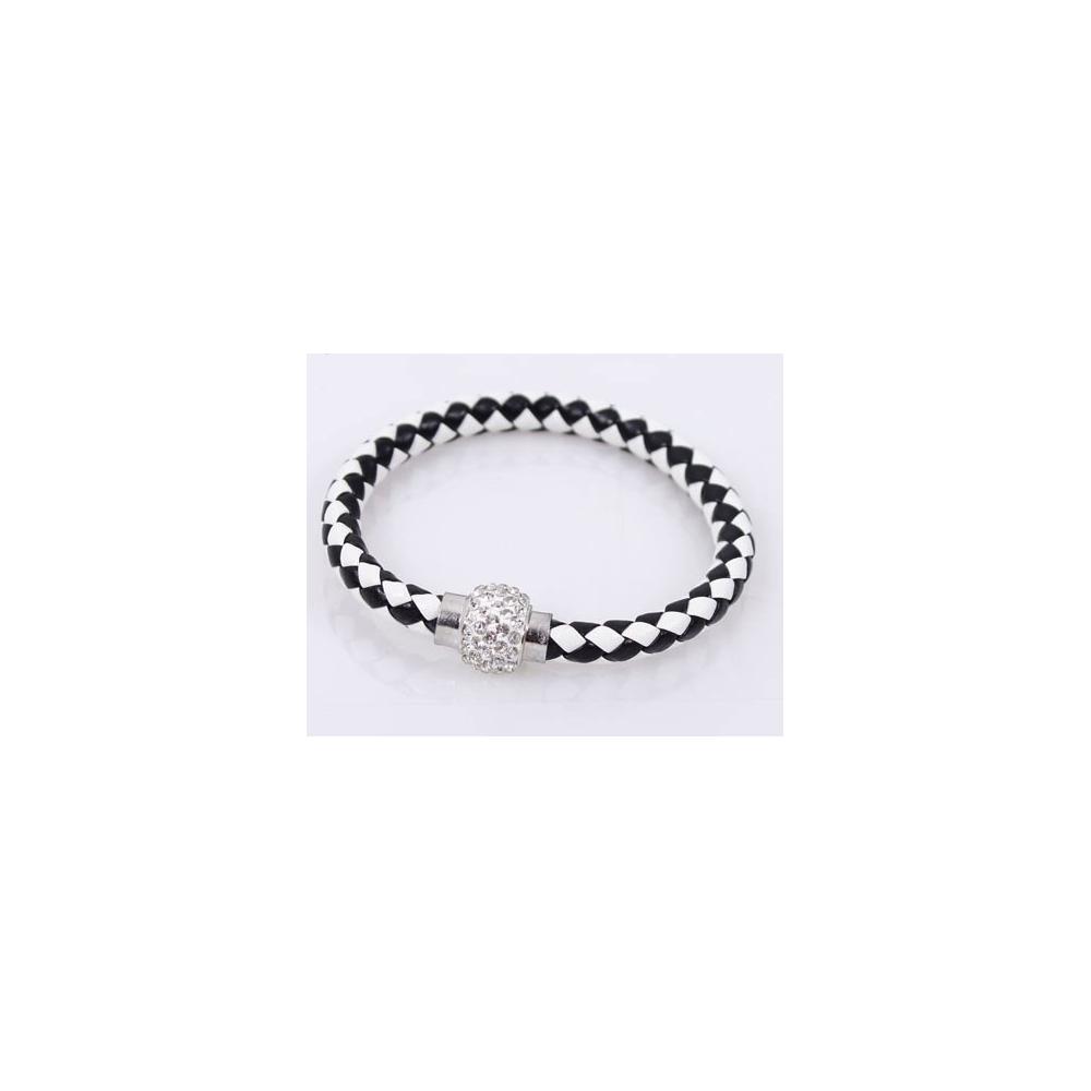 bracelet tresse cuir Black & White