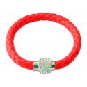 bracelet tresse cuir Rouge