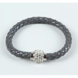 bracelet tresse cuir Gris