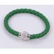 Bracelet tresse cuir Vert Sapin