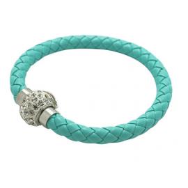 Bracelet tresse cuir Vert Pastel