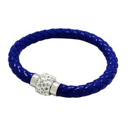Bracelet tresse cuir Bleu nuit
