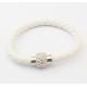 Bracelet tresse cuir Blanc
