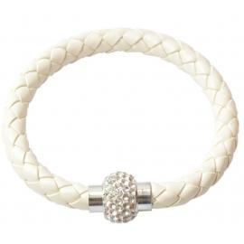 Bracelet tresse cuir Blanc nacré