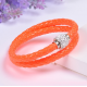 Bracelet double tresse cuir Orange