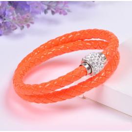 Bracelet double tresse cuir Corail