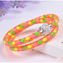 Bracelet double tresse cuir Orange multicolor