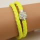 Bracelet double tresse cuir Jaune