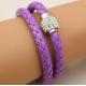 Bracelet double tresse cuir Violet