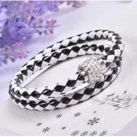 Bracelet double tresse cuir Black & White