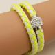 Bracelet double tresse cuir Jaune & Gris