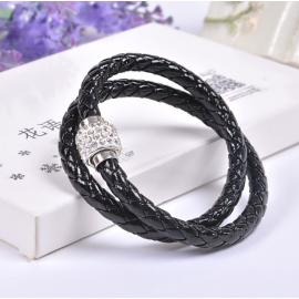 Bracelet double tresse cuir Noir