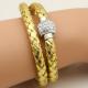 Bracelet double tresse cuir Doré