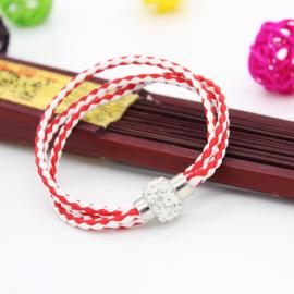 Bracelet triple tresse cuir Rouge & Blanc
