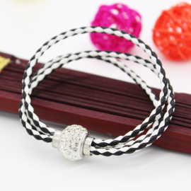 Bracelet triple tresse cuir Noir & Blanc