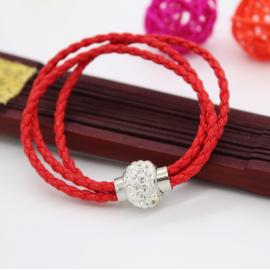Bracelet triple tresse cuir Rouge