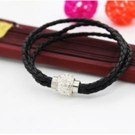 Bracelet triple tresse cuir Noir
