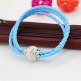 Bracelet triple tresse cuir Bleu