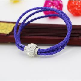 Bracelet triple tresse cuir Bleu Roi