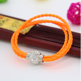 Bracelet triple tresse cuir Orange