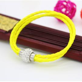Bracelet triple tresse cuir Jaune Citron
