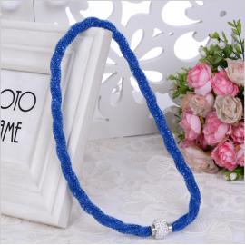 Collier résille Strass - Bleu