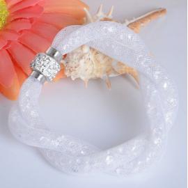 Bracelet Shamballa Double - Blanc