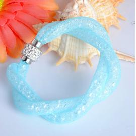 Bracelet Shamballa Double - Bleu Pastel