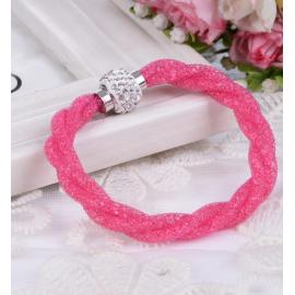 Bracelet Shamballa Triple - Rose fushia