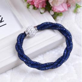 Bracelet Shamballa Triple , Bleu nuit