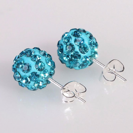 Boucles d'oreilles Shamballa Turquoise