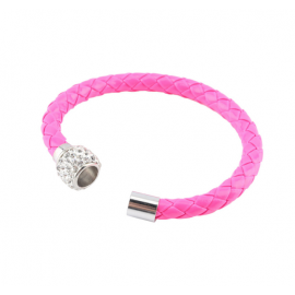 bracelet tresse cuir Rose